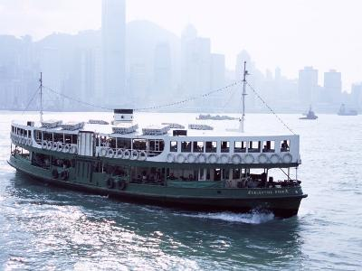 Star Ferry, Victoria Harbour, with Hong Kong Island Skyline in Mist Beyond, Hong Kong, China, Asia-Amanda Hall-Photographic Print
