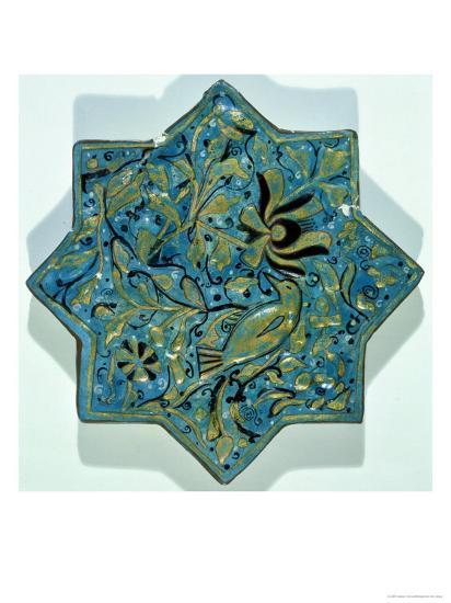 Star-Shaped Overglaze Leaf-Gilded Tile in the Style of Takht-E Solaiman, 13th-14th Century--Giclee Print