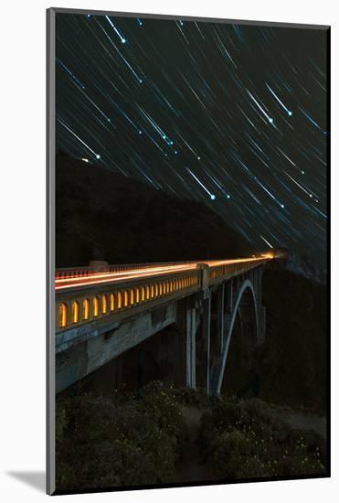 Star trails and light trails over the Big Sur's Bixby Creek Bridge near Monterey, California-David Chang-Mounted Premium Photographic Print