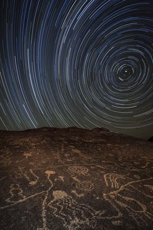 Star Trails at an Ancient Petroglyph Site Near Bishop, California--Photographic Print