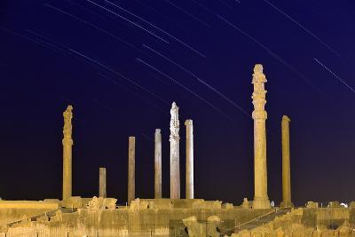 Star Trails Over 2500-year-old Apadana Palace, a World Heritage Site-Babak Tafreshi-Photographic Print