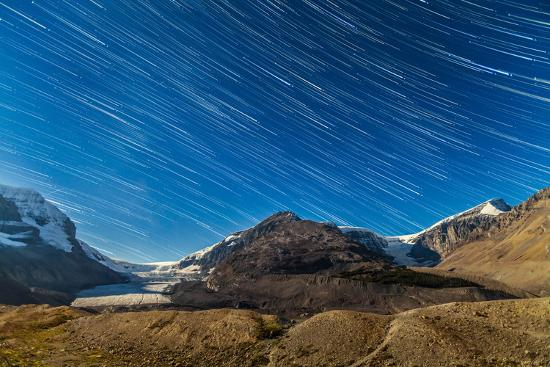 Star Trails over Columbia Icefields-Stocktrek Images-Photographic Print