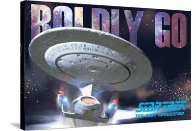 Star Trek Next Gen Boldly Go Ship--Stretched Canvas Print