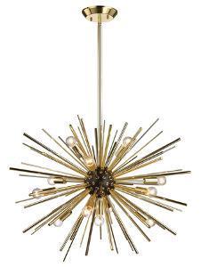Starburst 12 Bulb Pendant Lamp - Gold