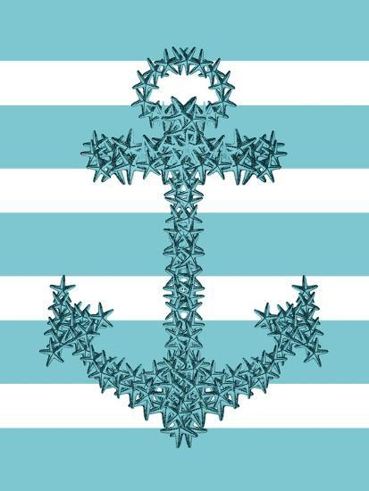 Starfish Anchor in Turquoise and White-Fab Funky-Art Print