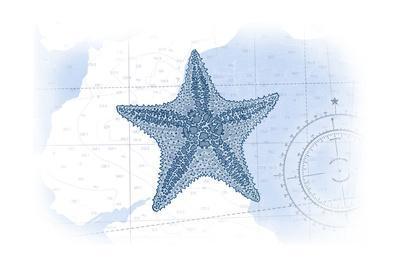 Starfish - Blue - Coastal Icon-Lantern Press-Art Print