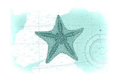 Starfish - Teal - Coastal Icon-Lantern Press-Art Print