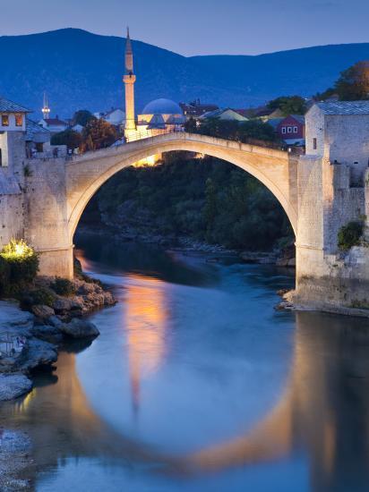 Stari Most or Old Bridge over Neretva River at Dusk-Richard l'Anson-Photographic Print