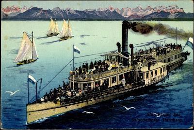 Starnberger See, Dampfer Starnberg, Segelboote, Berge--Giclee Print