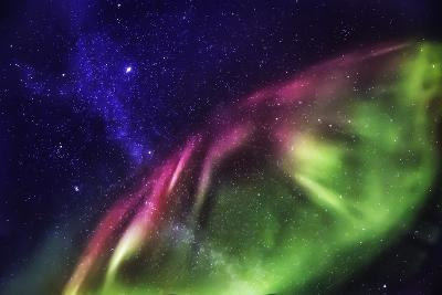 Starry Evening with the Aurora Borealis or Northern Lights and the Milky Way Galaxy, Abisko--Photographic Print