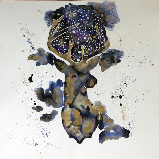 Starry Night Deer-Lauren Moss-Giclee Print