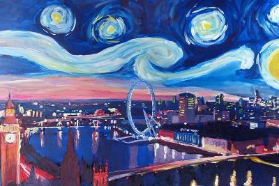 Starry Night in London - Skyline with Big Ben-Markus Bleichner-Art Print