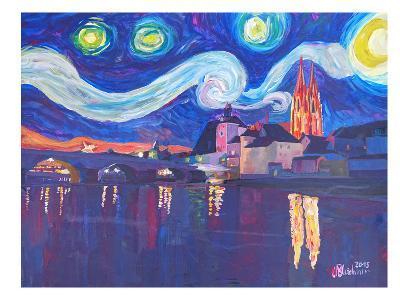 Starry Night In Regensburg-M Bleichner-Art Print