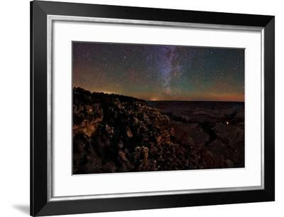 Starry Sky over the Grand Canyon with the Milky Way, Big Dipper, Polaris, and Airglow-Babak Tafreshi-Framed Photographic Print