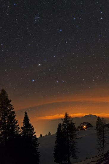 Starry Sky with Planet Saturn, the Bright Spot in Constellation Virgo  Photographic Print by Babak Tafreshi | Art com