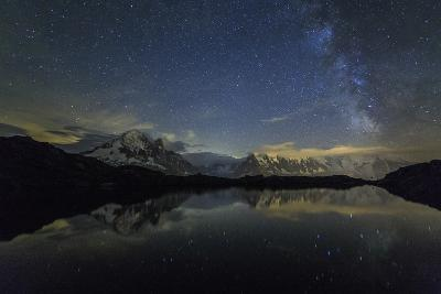 Stars and Milky Way Illuminate the Snowy Peaks and Lac De Cheserys, France-Roberto Moiola-Photographic Print