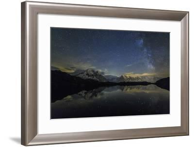 Stars and Milky Way Illuminate the Snowy Peaks and Lac De Cheserys, France-Roberto Moiola-Framed Photographic Print