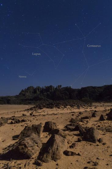 Stars of Constellation Centaurus, Lupus and Norma Appear Above Sandstone Cliffs-Babak Tafreshi-Photographic Print