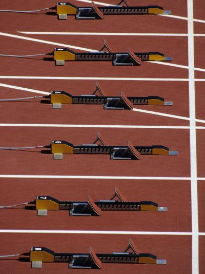 Starting Blocks for the Start of a Sprint Race-Paul Sutton-Photographic Print
