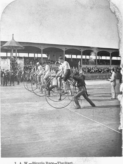 Starting Line of a Penny-Farthing Bicycle Race-George Barker-Photographic Print