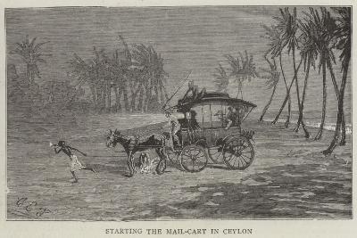 Starting the Mail-Cart in Ceylon-Charles Edwin Fripp-Giclee Print