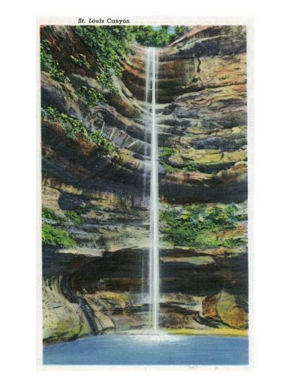 Starved Rock State Park, IL, View of the St. Louis Canyon and Falls-Lantern Press-Art Print