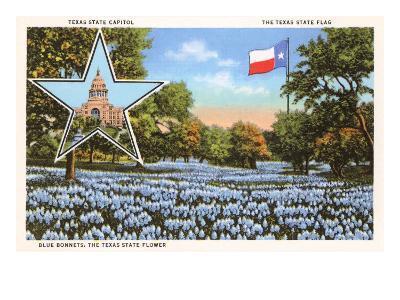 State Capitol, Austin, Texas, Blue Bonnets--Art Print