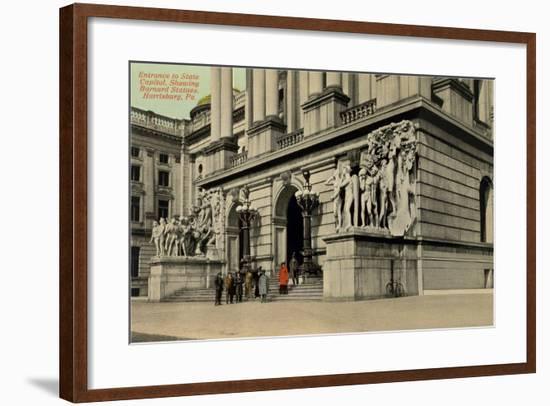 State Capitol Entrance, Harrisburg--Framed Art Print
