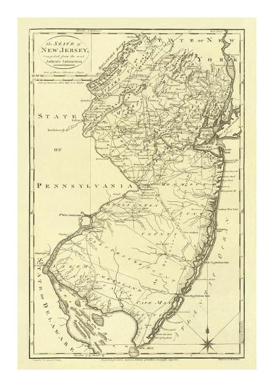 State of New Jersey, c.1795-Mathew Carey-Art Print