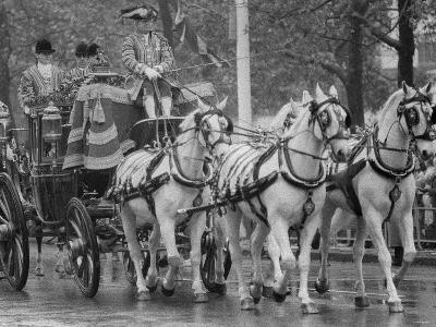 State Opening of Parliament Queen Elizabeth and Duke of Edinburgh Travell in the State Coach--Photographic Print