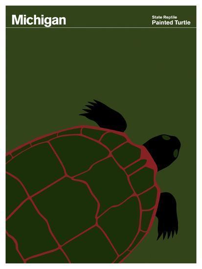 State Poster MI Michigan--Giclee Print