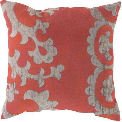 Stately Scroll Pillow - Coral