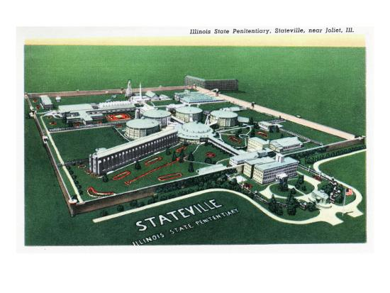 Stateville, Illinois - Aerial View of Illinois State Penitentiary Near Joliet, c.1945-Lantern Press-Art Print