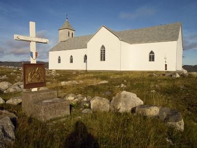 Station of the Cross and Church, St. Pierre Et Miquelon, Isle Aux Marins, Near Newfoundland, Canada-Ken Gillham-Photographic Print