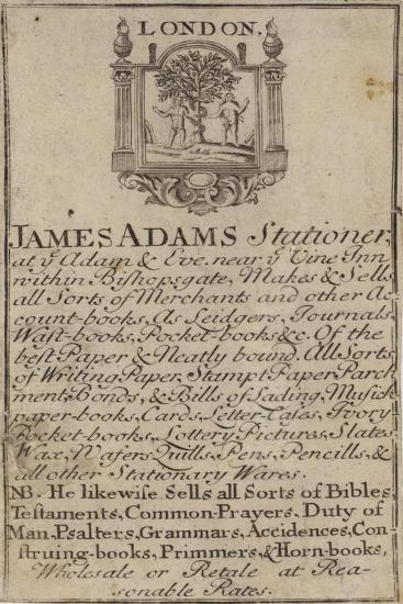 Stationers, James Adams, Trade Card--Giclee Print