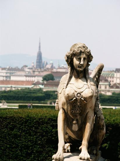 Statue and City View of Beautiful Vienna, Austria--Photographic Print