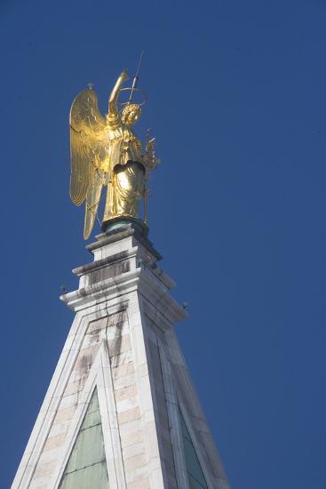 Statue Atop St Mark's Campanile, St Mark's Square, Venice--Photographic Print
