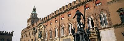 Statue in Front of Palace, Fountain of Neptune, Palazzo D'Accursio, Piazza Maggiore, Bologna, Italy--Photographic Print