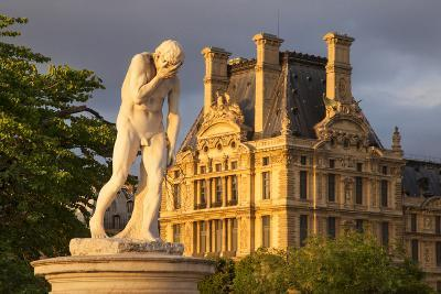 Statue in Jardin Des Tuileries with Musee Du Louvre Beyond, Paris, France-Brian Jannsen-Photographic Print