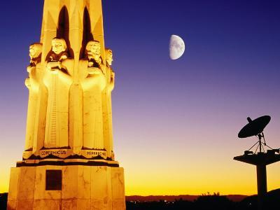 Statue, Moon and Satellite Dish, Griffith Observatory, Griffith Park, Hollywood, Los Angeles, USA-Richard Cummins-Photographic Print