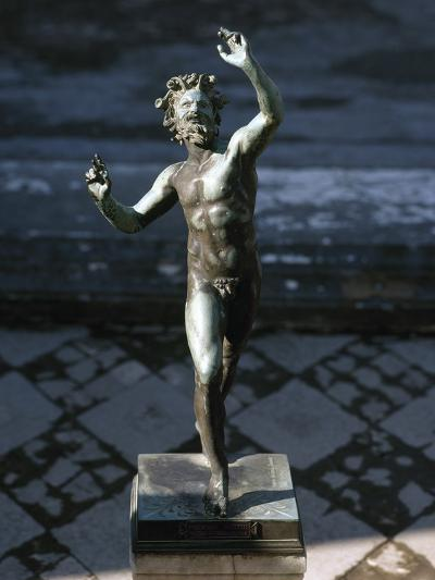 Statue of a Dancing Faun, Bronze, House of the Faun, Pompeii--Photographic Print