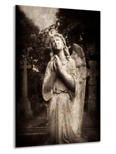 Statue of a Female Angel Praying in Cemetery-Clive Nolan-Metal Print