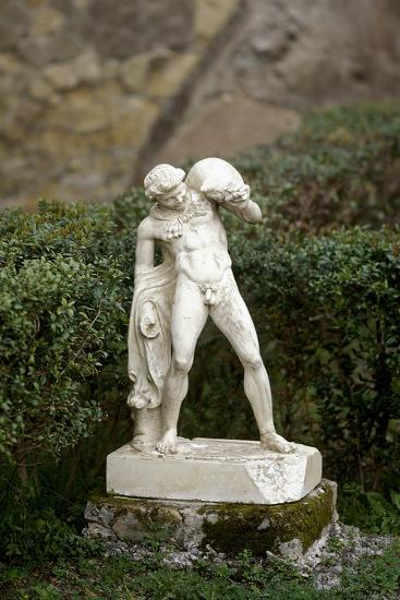 Statue of a Satyr Holding a Wineskin. Herculaneum--Photographic Print
