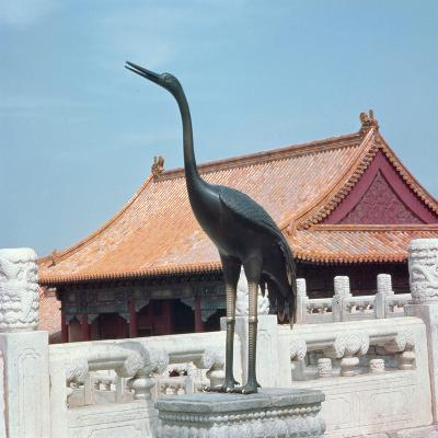 Statue of a Stork with a Side Pavilion of the Hall of Supreme Harmony in the Background--Photographic Print