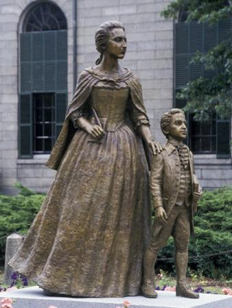 Statue of Abigail Adams with Son John Quincy Adams, Outside Adams Family's Church, Quincy, MA