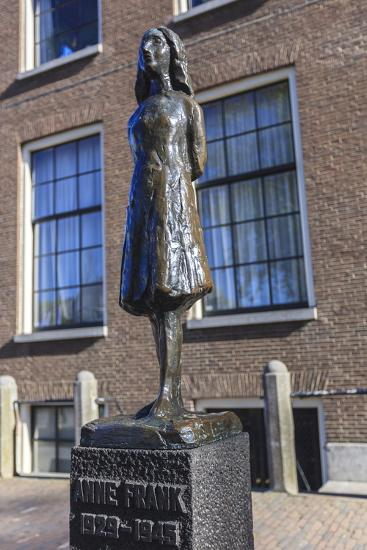 Statue of Anne Frank Outside Westerkerk, Near Her House, Amsterdam, Netherlands, Europe-Amanda Hall-Photographic Print