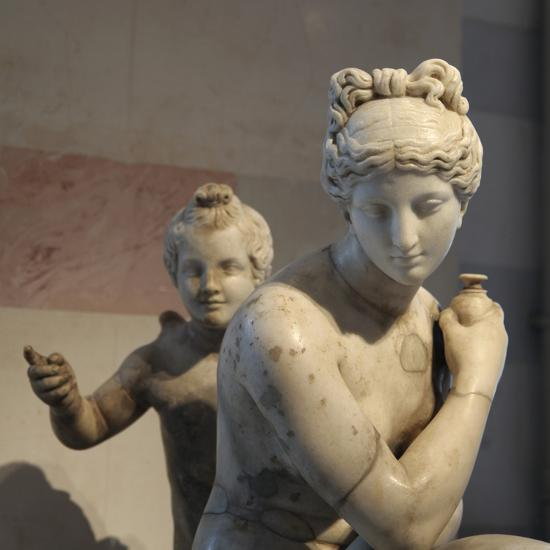 Statue of Bathing Aphrodite and Eros--Photographic Print