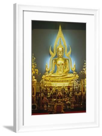 Statue of Buddha, Marble Temple (Wat Bo Bentchama Bitr), Bangkok, Thailand, 19th Century--Framed Giclee Print