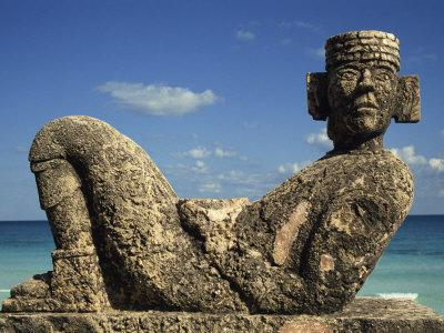 Statue of Chac-Mool, Cancun, Quitana Roo, Mexico, North America-Charles Bowman-Photographic Print