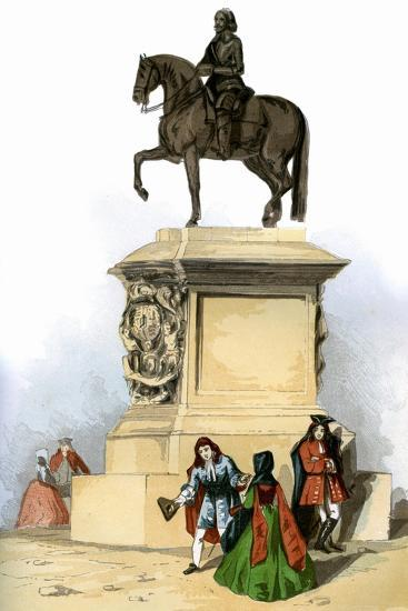 Statue of Charles I, Charing Cross, London, C1850--Giclee Print